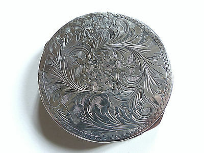Superb Large Antique Sterling Silver Mirror Powder Compact