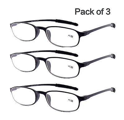 Pinkvoo 3 Pack Flexible Lightweight Reader Reading Glasses 1.0 1.5 2.0 2.5 3.0