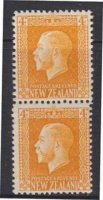 New Zealand.  4d yellow George V Vertical pair both perforations Mint SG 421d