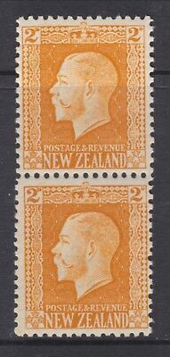 New Zealand.  2d yellow George V Vertical pair both perforations Mint SG 418b
