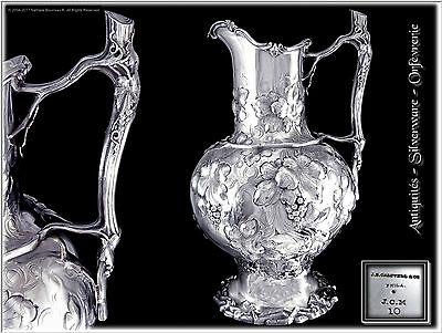 J. E CALDWELL & Co -  Rare & Imposing American Solid Silver Water Pitcher or Jug