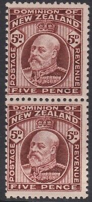 New Zealand.  5d Brown Edward VII Vertical pair both perforations Mint SG 402a