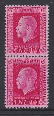 New Zealand.  6d red George V. Vertical pair both perforations. Mint SG 425e