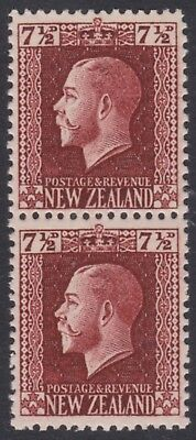 New Zealand.  7½d Brown George V Vertical pair both perforations UHM SG 426b