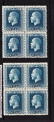 New Zealand. 2½d King George V. Two mint hinged blocks, both perf types SG419/a