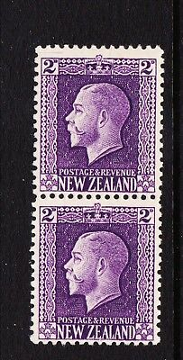 New Zealand 2d violet King George V Hinged mint Two perf pair SG417b