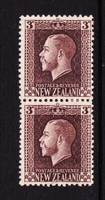 New Zealand 3d chocolate King George V Hinged mint Two perf pair SG 420c