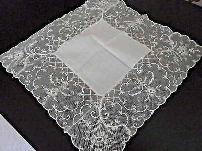 Antique White Cotton~ Hand Worked Embroidered Lace Ladies Handkerchief~Bride