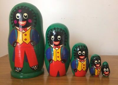 Rare Collectable Wooden Hand Painted Babushka Nesting Dolls