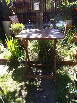 Folding Wooden Outdoor Table, Wooden Box/ Planter+ Succulent