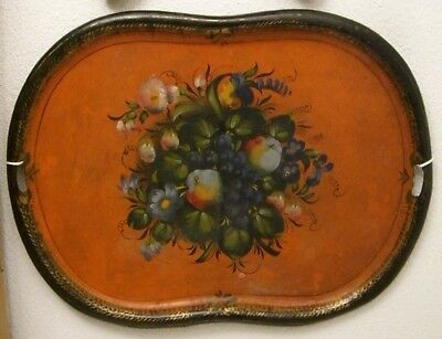 19th century Tôle peinte, France: A large hand painted tole tray