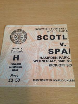 1984 Scotland V Spain - World Cup Qualifier - Used Ticket