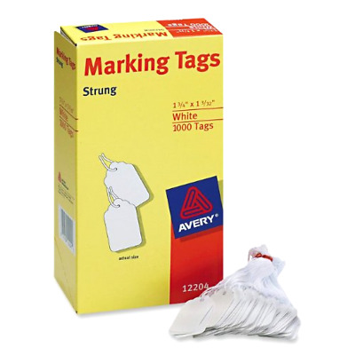 """1000-Pack Avery White Marking Tags Strung 1.75x1.093"""" Tag String Cardstock Price"""