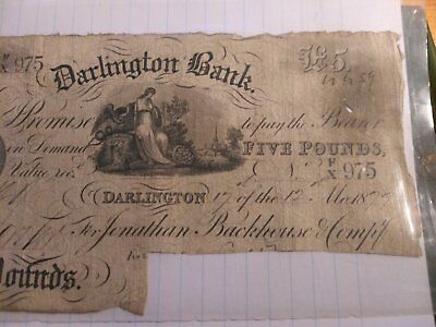 Rare Darlington `White`£5 note circa 1879, no.975