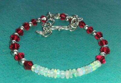 Ethiopian Welo Fire Natural Fire Opal Bracelet with Crystal Bicone Jewelry PB262