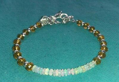 Natural Ethiopian Welo Fire Opal Beads Bracelet with Crystal Beads jewelry PB267