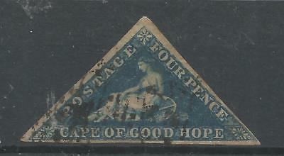 CAPE OF GOOD HOPE 1855-63 FUsed 3 complete sides 4d deep blue SG6 Cat. $126//£95