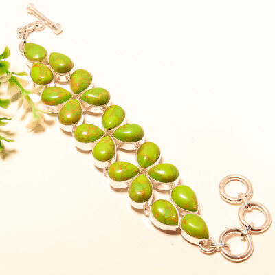 Green Copper Turquoise Gemstone 925 Silver Bracelet 7-8