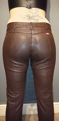 """Miss Sixty Brown New Kirk Faux Leather Trousers: Uk Size 10/12 Waist 29"""" Leg 35"""""""