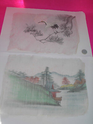 Antique Hand Painted On Fine Silk Pictures X 2  Chinese Crane Country Scene