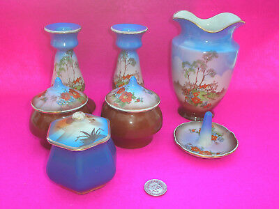 China Job Lot Candle Holders Pots Vase Ring Tree Blue/brown Tree Design 7 Items