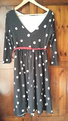 Polka dot jersey maternity dress size 10 ASOS VGC black with white spots