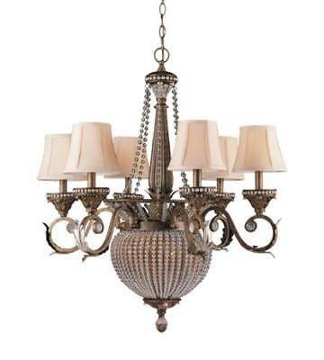 Chandelier 6 Light With Weathered Patina Crystal Beads Wrought Iron 28 in 360 W