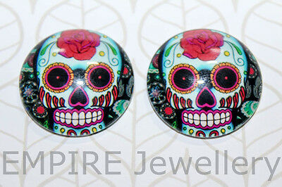 SALE! 2 x Los Muertos Skull Pink Rose 25x25mm Glass Dome Cabochon Cameo Day Dead