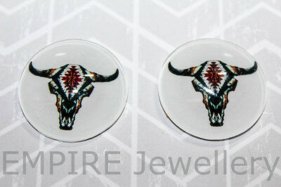 1 x Longhorn Skull 25x25mm Glass Dome Cabochon Cameo Steer Cow Bull Skeleton