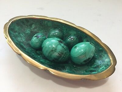 Beautiful polished malachite and brass decorative bowl With Eggs