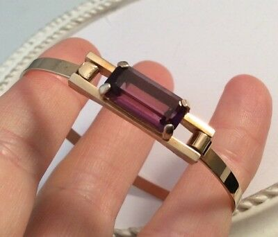 Lovely Vintage 1960s Early Signed Avon Modernist Bangle With Amethyst Baguette