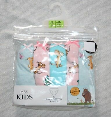 5 Pack M&S Girls Multi The Gruffalo Cotton Briefs Knickers Age 3-4 years New