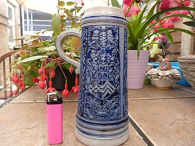 Vintage German Beer Stein Two Tone Colour (Blue and Grey)