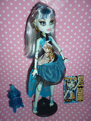 "Monster High ""13 Wishes Haunt the Casbah"" Frankie Stein Doll + Card, Lamp, Stand"