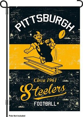 "Pittsburgh Steelers 12.5"" x 18"" Vintage Linen Garden Flag"
