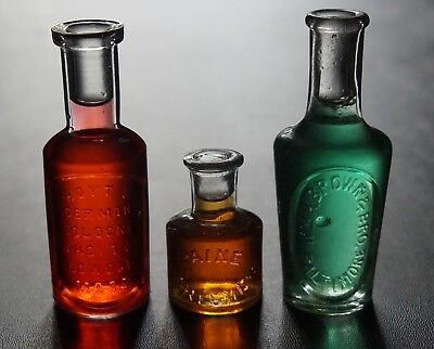 Antique Victorian Era Miniature Embossed Fragrance Or Perfume Bottle Lot