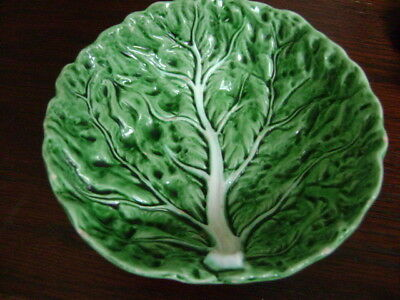 Rare Pre Ww2 Bordallo Pinheiro Majolica Small Cabbage Leaf Soup Bowl