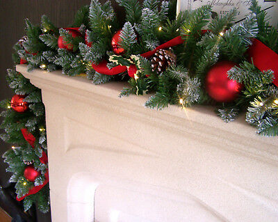 Luxury 1.8m Red Bauble Snow Tipped Christmas Garland Red Ribbon acorns Lit 6ft