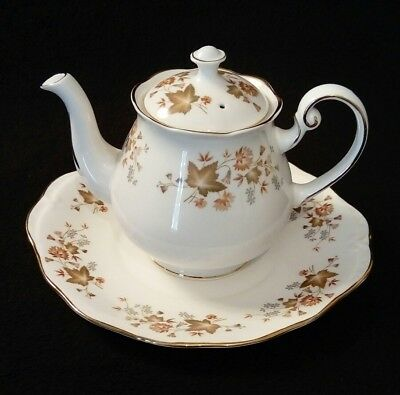 Colclough Autumn Leaves Bone China Tea Set - LARGE TEAPOT WITH LID & PLATE