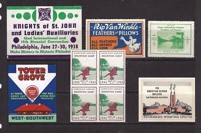 Cinderella Stamps x 9 United States From 1938 U/M.