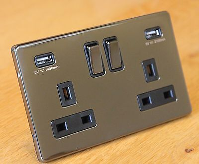 luxury Screwless black nickel 13A double / 2 gang wall socket with 2 USB Ports