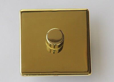 Trailing Edge LED dimmer switch Screwless Polished Brass 1 gang 2 way Push onoff
