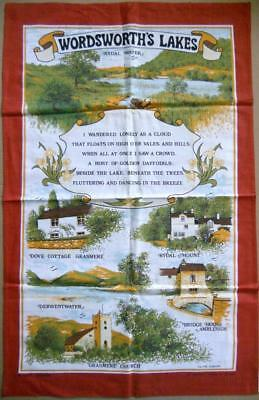 Vintage Souvenir WORDSWORTH'S LAKES Kitchen Towel 100% Cotton UNUSED