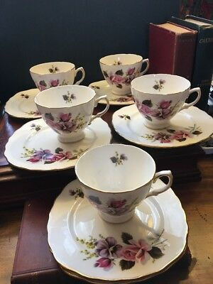 Vintage Crown Royal Bone China Tea Cups And Cake Plates Roses Buds And Pansy Set