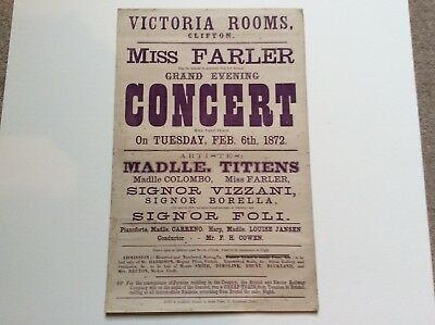 Victoria Rooms, Clifton, Bristol. 1872, Poster. Miss Farley Grand Evening Conc