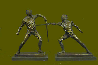 Figure of Two Young Fencer by Milo Handcrafted Museum Quality Bronze Home Decor
