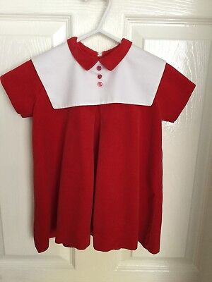 Vintage 1960's Little Girls Dress (55 Years Old) Red Velvet With White Collar