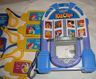 Working Disney Tunes Jukebox Kid Clips Radio Player Lot 6 Cartridges