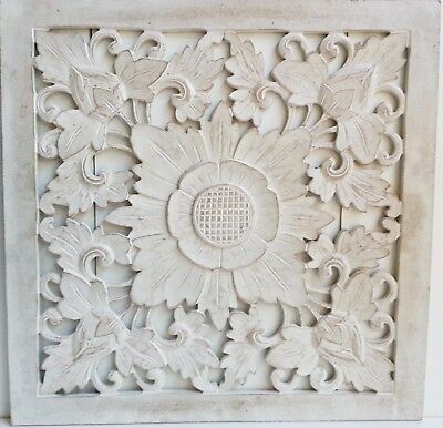 White Wash Sunflower Wood Shabby Chic Wall Art Hanging Panel Carving Bali 50Cm