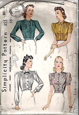 Yoked Blouse with soft pleats circa 1940's